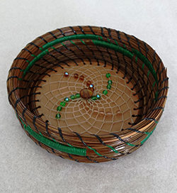 """4"""" pine needle basket & beaded flower-S&S Handcrafted Art & Gifts"""