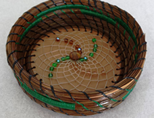 4″ Pine needle basket & beaded flower