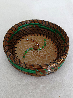 "4"" pine needle basket & beaded flower-S&S Handcrafted Art & Gifts"