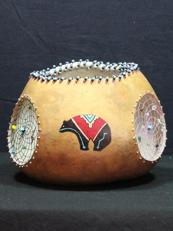 Native American Bear Gourd Pot with Three Woven Dream Catchers