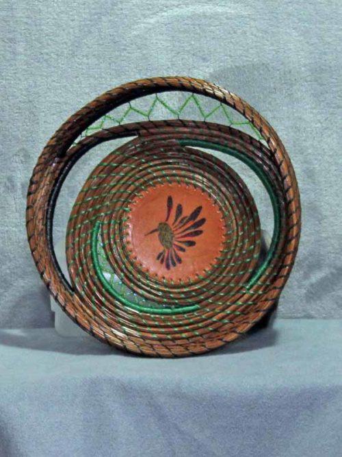 Free Form Pine Needle Humming Bird Basket