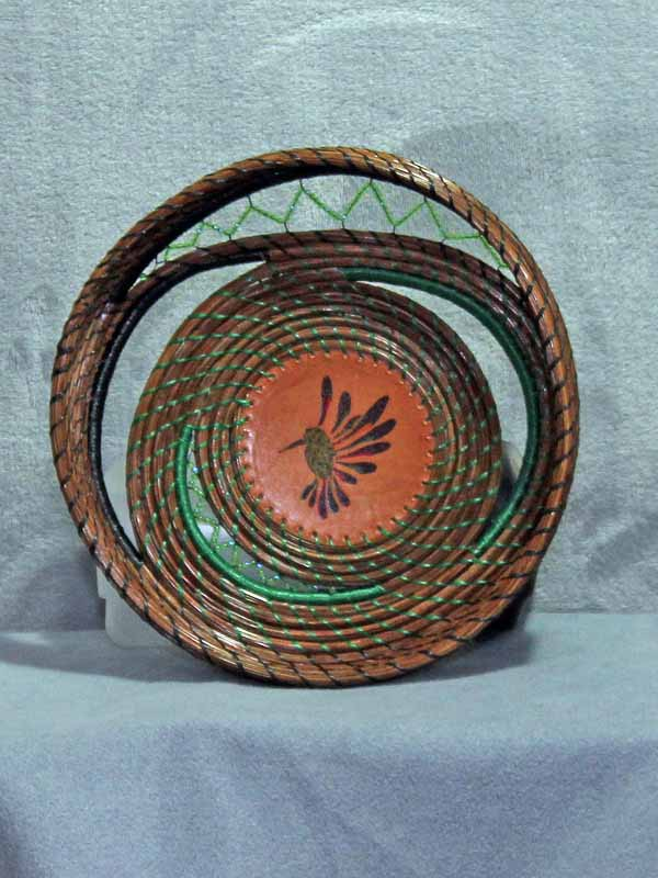 Free Form Pine Needle Humming Bird Basket
