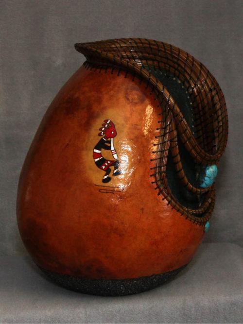 Pine Needle Embellished Gourd